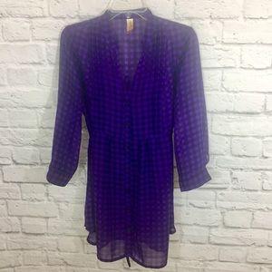 No Boundaries Black and Purple Checkered Blouse